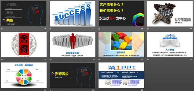 《变革与创新》企业培训PPT下载,本幻灯片主要讲解以下几点: 价值观-文化与理念 变革-内部的发展与突破 共赢-外部的开拓与合作 这是一份优秀的企业培训幻灯片,如果您对企业培训感兴趣,可以下载本PPT参考; 关键词:企业培训PPT,公司培训幻灯片,优秀PPT欣赏;