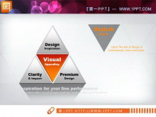 一张并列组合关系的三角形PPT图表模板