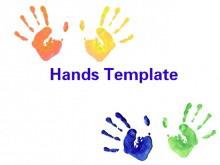 彩色油漆手印艺术PPT模板下载