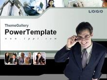 国外办公室人物背景商务PPT模板下载