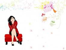 卡通美女背景的时尚幻灯片模板下载