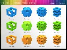 一组3d立体幻灯片图标素材下载