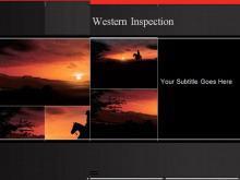 夕阳下的骑士PowerPoint模板下载