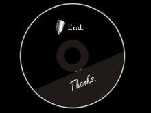 黑色CD背景的幻灯片放映结束背景图片