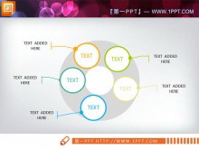 并列环绕的PowerPoint图表模板下载