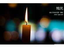 光斑蜡烛背景的感恩主题PPT模板