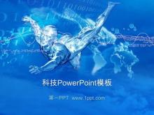 蓝色科技人背景PowerPoint模板下载