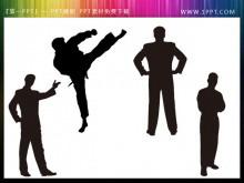 一组人物剪影PowerPoint背景素材下载