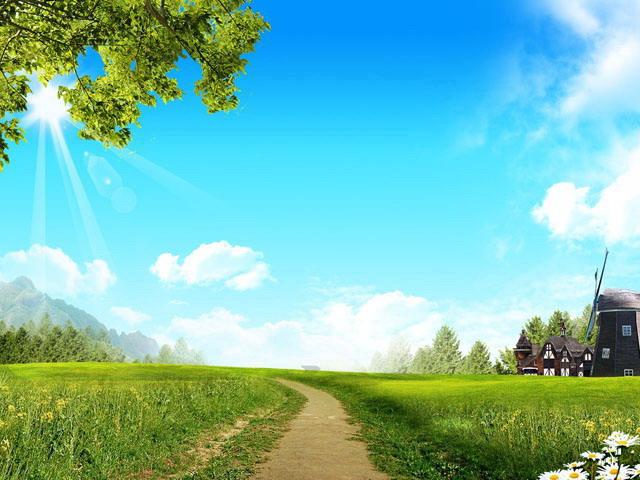 简介:草原,草地,风车,蓝天,白云,野花,阳光,自然风光ppt背景图片,16图片