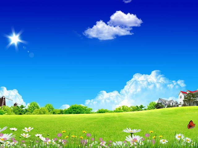 自然风景ppt背景_草地别墅自然风景幻灯片背景图片 - 第一PPT