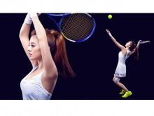 美女网球运动员PPT背景图片