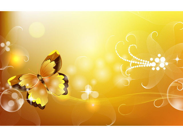 一组精美的蝴蝶插画PPT背景图片