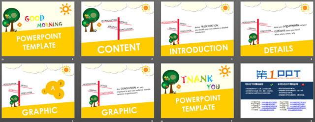 这是一份可爱的英文卡通PowerPoint模板,适合用于制作儿童英语教学PPT课件; PPT黄色的背景色,搭配卡通的小树和太阳等元素,可以让小朋友们产生对英语学习的兴趣; 关键词:可爱,好看的卡通PPT模板下载,英文,英语课件幻灯片模板,黄色PPT背景,.PPT格式;