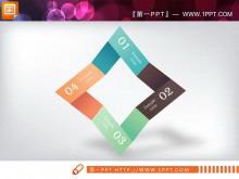 菱形并列组合的PPT关系图素材