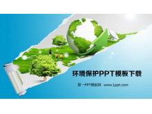 地球草地背景的环境保护PowerPoint模板下载