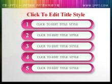 精美粉色水晶风格幻灯片目录模板下载
