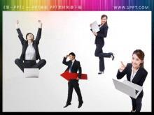 一组女性商务人士背景人物幻灯片素材下载