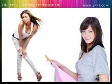 两张透明背景美女PPT插图素材