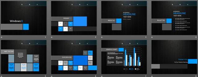 黑色win8风格商务ppt模板免费下载