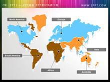 可编辑可移动的世界地图幻灯片插图素材