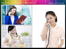 三张打电话接电话的美女幻灯片素材下载