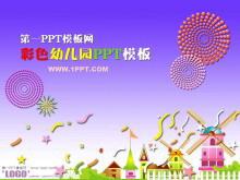 紫色礼花背景卡通幼儿园PPT模板下载