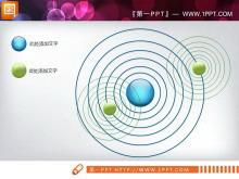 星系样式的3d立体交叉关系PowerPoint图表