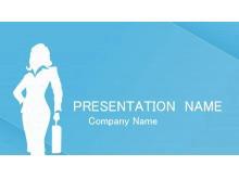 国外淡雅蓝色背景的时尚女性PowerPoint模板下载