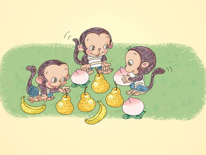 通过卡通flash动画的形式,让学生们进行比一比猴子手里的水果,比