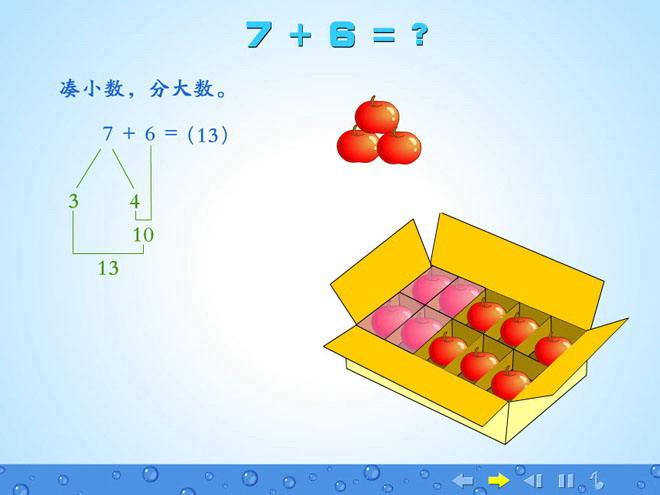 人教版一年级数学上册《7+6=?》20以内的进位加法Flash动画课件