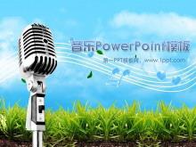 动态麦克风音符背景音乐PowerPoint模板下载