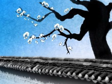 一组寒梅望雪背景中国风幻灯片背景图片下载