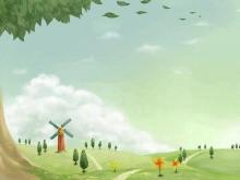 乡下的风车卡通幻灯片背景图片下载