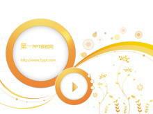 淡雅橙色背景的时尚播放器幻灯片模板下载