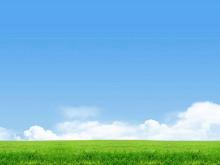 蓝天白云草地自然风光PowerPoint背景图片