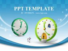 卡通时钟背景的韩国卡通PPT模板下载