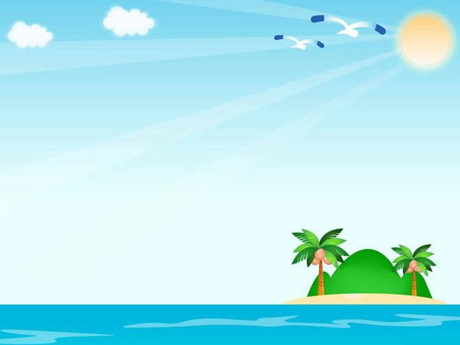 清新的海岛背景卡通幻灯片背景模板下载 - 第一ppt