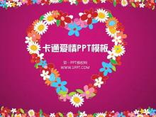 粉色卡通花环背景的浪漫爱情PowerPoint模板下载