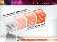 橙色3d立体水晶风格幻灯片图表模板打包下载