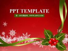 鲜艳喜庆红色背景的圣诞节PowerPoint模板下载