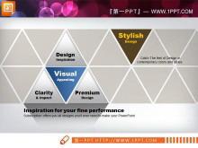 商务蓝与黄色搭配的PowerPoint图表模板打包下载