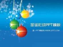 节日彩球背景的圣诞节PowerPoint模板下载