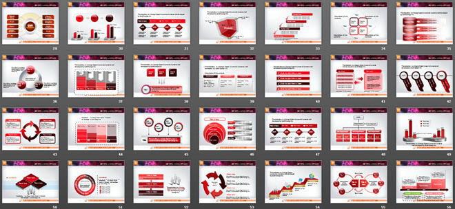 红色幻灯片图表大全打包下载