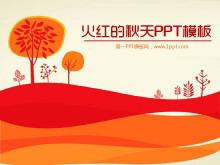 火红的秋天浪漫卡通PowerPoint模板下载