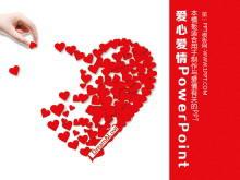 爱心花瓣拼图背景的爱情幻灯片模板下载