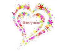 彩色花环背景的与爱情有关的PPT模板