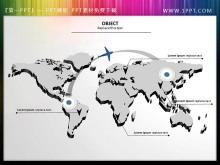 一张精美的3d立体设计的世界地图PPT素材下载