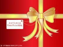 红色浪漫情人节礼物PPT模板下载