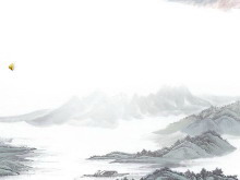 淡雅水墨山水画背景的中国风PPT背景图片下载