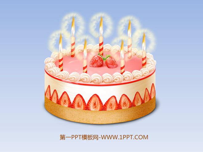 動態生日蛋糕ppt動畫背景的生日快樂幻燈片模板